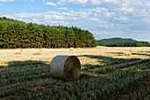 Stubble-Field in front of the Rhinow Mountains, near Rhinow, Brandenburg, Germany