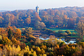 Babelsberg Park with Lake Kindermann and Flatow Tower, Gardener House, Potsdam, Brandenburg, Germany
