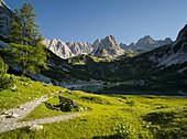 Bank at the Seebensee, Mieminger Mountains, Tyrol, Austria