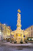 Pestsäule, Rathaus, Hauptplatz, Baden near Vienna, Lower Austria, Austria