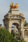Quadriga de l ´Aurora, four horses on top of the Cascada, monument with waterfall, Parc de la Ciutadella, city park, world exhibition 1888, Barcelona, Catalunya, Catalonia, Spain