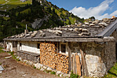 Kleintiefentalalm alpine hut, mountain pasture in the Schliersee mountains, above lake Spitzingsee and beneath Rotwand, Mangfall mountains, Bavarian Alps, Upper Bavaria, Bavaria, Germany, Europe