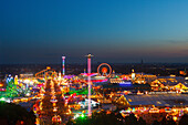 Oktoberfest beer festival at night, Munich, Upper Baveria, Bavaria, Germany, Europe
