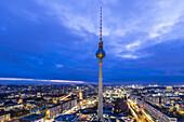 view at sunset over Berlin and Alex, Alexanderplatz, Berlin, Germany
