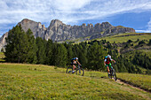 two mountain bikers on a single-trail, Trentino Italy