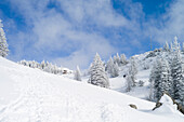 Snowy mountains, Kampenwand, Alps, Bavaria, Germany