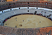 View from a highrise building into the bullfighting arena in Malaga, bullfight training, Malaga, Andalusia, Spain