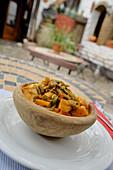 Vegetable soup at a restaurant in Algatocin, Serrania de Ronda, Andalusia, Spain