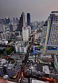 View from above Eleven rooftop bar at the Sukhumvit, Bangkok, Thailand