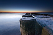 Close-ups of a jetty in the evening mood, Western Pomerania Lagoon Area National Park, Ahrenshoop, Fischland-Darss-Zingst, Mecklenburg Vorpommern, Germany