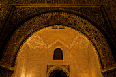 Fine Moorish wall decorations in the Nasrid palace in the Alhambra, night visit, Granada, Andalusia Spain, Europe