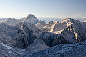 View from the hut Triglavski Dom na Kredarici towards Razor on the left and Stenar on the right, Julian Alps, Slovenia