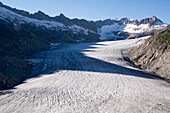 The tongue of the Rhone Glacier, source of the river Rhone, Uri Alps, canton of Valais, Switzerland