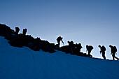 Bergsteiger früh morgens am Einstieg zum Südgrat des Gipfels namens Weissmies, Walliser Alpen, Kanton Wallis, Schweiz