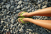 Feet in thongs, Uberlingen, Lake Constance, Baden Wurttemberg, Germany
