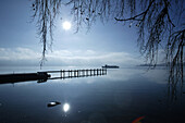 Pier in the moonlight, Fraueninsel, Chiemsee, Bavaria, Germany