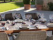 Set table, garden furniture, Mallorca, Balearic Islands, Spain