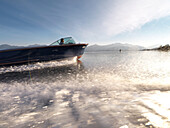 Classic motorboat, Chiemsee, Bavaria, Germany