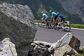 Cyclists on the Grossglockner road, Tyrol, Carinthia, Austria