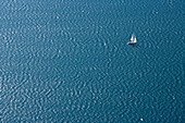 Sailing boat on lake Garda, Torbole, Trentino, Trentino-Alto Adige, Suedtirol, Italy