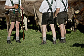 Men wearing traditional clothes having a break, Viehscheid, Allgau, Bavaria, Germany