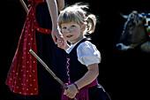Girl wearing a dirndl, Viehscheid, Allgau, Bavaria, Germany