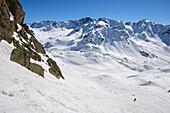 Abfahrt zur Grialetschscharte, Gipfel im Hintergrund von links nach rechts: Piz Vadret, Piz Grialetsch, Scalettahorn, Graubünden, Schweiz, Europa