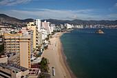 Overhead of high-rise hotels on El Morro beach, Acapulco, Guerrero, Mexico