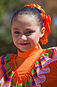Young girl in traditional folklore costume, Loreto, Baja California Sur, Mexico