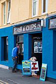 Fish & Chips shop near harbor, Portree, Isle of Skye, Highland, Inner Hebrides, Scotland, United Kingdom