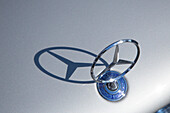 Mercedes Benz hood ornament with shadow, Bamberg, Franconia, Bavaria, Germany