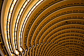 Overhead of Atrium at Grand Hyatt Hotel inside Jin Mao Tower, Pudong, Shanghai, China