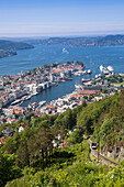 Overhead of city and harbor from Mt. Floien, Bergen, Hordaland, Norway