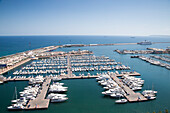 Yachts and sailboats in Port of Alicante marina and cruise ship MS Deutschland (Reederei Peter Deilmann), Alicante, Andalusia, Spain