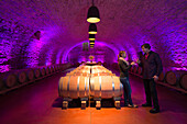 Young woman and man sample wines in wine cellar at Winzerkeller Sommerach winery, Sommerach, Franconia, Bavaria, Germany