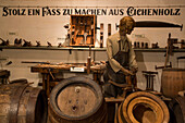 Cooperage display at Maisel's Brauereimuseum Bayreuth brewery museum, Bayreuth, Franconia, Bavaria, Germany