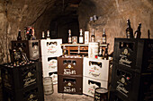 Bayreuther Bierbrauerei AG beer products on display in Katakomben catacomb tunnel system, Bayreuth, Franconia, Bavaria, Germany