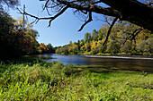 Herbstfarben am Riviere du Nord, Laurentians Region, Provinz Quebec, Kanada
