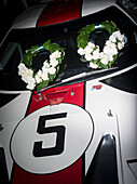 Laurel wreath, Ford GT40, Goodwood Revival, racing, car racing, classic car, Chichester, Sussex, United Kingdom, Great Britain