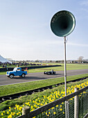 Land Rover, recovery vehicle and loudspeaker, 72nd Members Meeting, racing, car racing, classic car, Chichester, Sussex, United Kingdom, Great Britain
