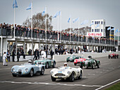 1952 Jaguar C-Type (L) and 1955 Aston Martin DB3S, Peter Collins Trophy, 72nd Members Meeting, racing, car racing, classic car, Chichester, Sussex, United Kingdom, Great Britain