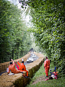 Track marshals, Goodwood Festival of Speed 2014, racing, car racing, classic car, Chichester, Sussex, United Kingdom, Great Britain