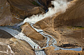 Hikers cross bridge in geothermal area Hveradalir, steam is rising out of colorful rhyolith mountains, volcanoe mountains Kerlingarfjoll, Highlands, South Iceland, Iceland, Europe