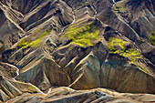 Aerial view of a river course and colorful rhyolith mountains, geothermal area of Landmannalaugar, Laugarvegur, Highlands, South Iceland, Iceland, Europe