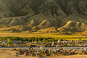 Friedhof des Dorfs Saty vor Bergkulisse, Region Almaty, Tien Shan Gebirge, Tian Shan, Kasachstan, Zentralasien, Asien