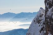 hot-air ballons above Enns valley, seen from Tennengebirge mountains, Salzburg, Austria