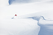 skier in deep powder snow, Zugspitze, Upper Bavaria, Germany