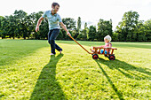 young father pulling his two-year-old daughter in a wagon over a meadow, Speyer, Rheinland-Pfalz, Germany