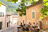 Group of older woman in a cafe, restaurant, romantic mountain village, Biniaraix, Serra de Tramuntana, Majorca, Balearic Islands, Spain, Europe