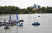 Boote auf dem Aasee in Münster , Münsterland , Nordrhein-Westfalen , Deutschland , Europa